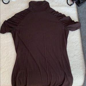 The Limited Tops - Short sleeve brown mock turtleneck